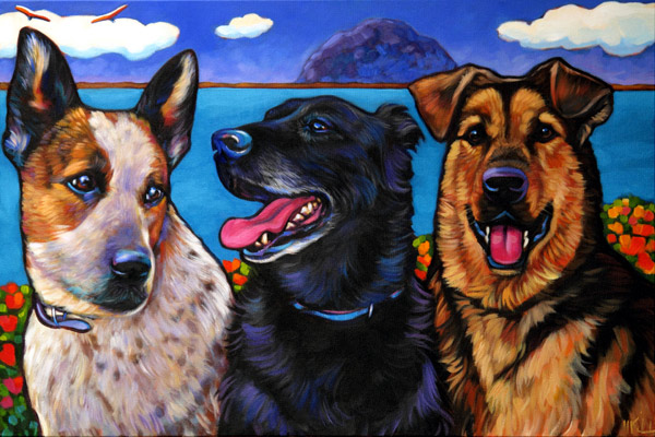 Pet portrait of Baxter, Phoebe and Josie, from Morro Bay, CA