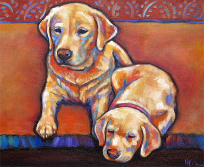 Brinkley and Mela pet portrait by Marna Schindler