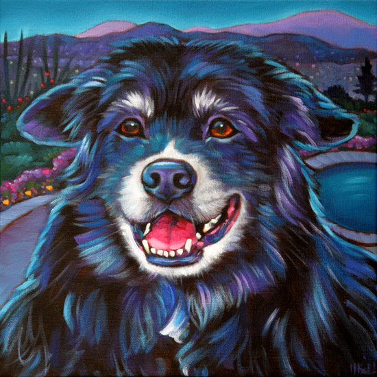 Pet portrait of Corky by Marna Schindler, happy pup living in Vernon, British Columbia by Marna Schindler