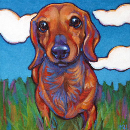 Pet portrait of Eddie the Dachshund from Palo Alto, CA