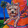 Lucille the Yorkie painting