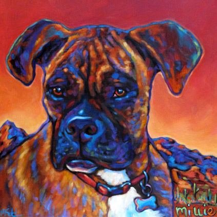 Portrait of Millie the Beautiful Boxer