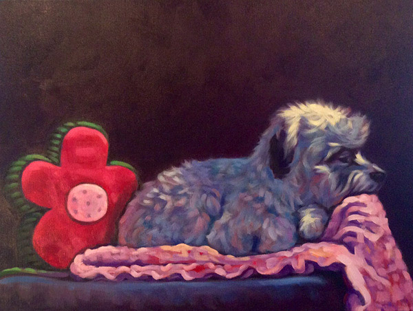 Pet portrait of Rascal, by Marna Schindler San Diego CA in memory