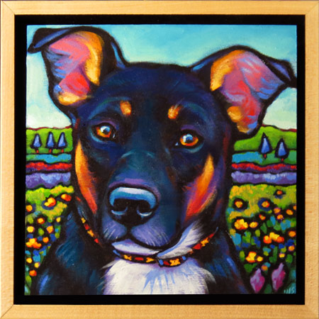 Ruby pet painting in floating frame