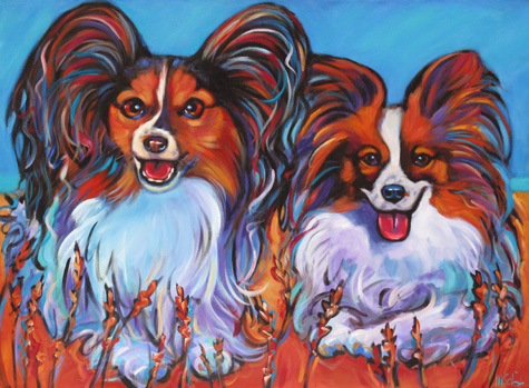 Satchi and Ananda dog painting pet portrait San Diego
