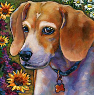 pet portrait of Bea, sweet beagle living in San Diego, CA