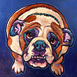 Bulldog pet portrait of Goose by Marna Schindler