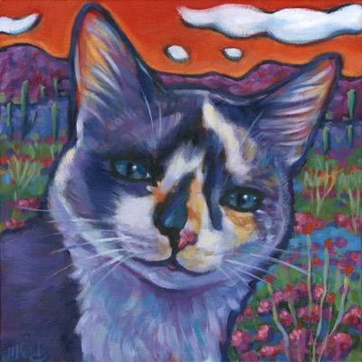 Scaredy, cat portrait celebrating a lifelong companion