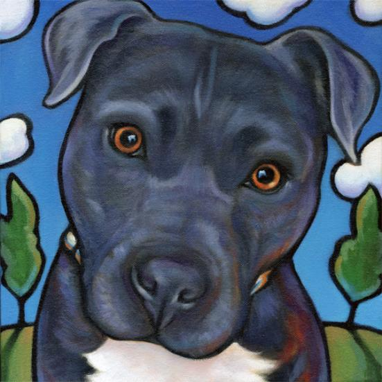 Pittie Pet Portrait of Carl, rescued Pitbull from O fallon Illinois, by Marna Schindler