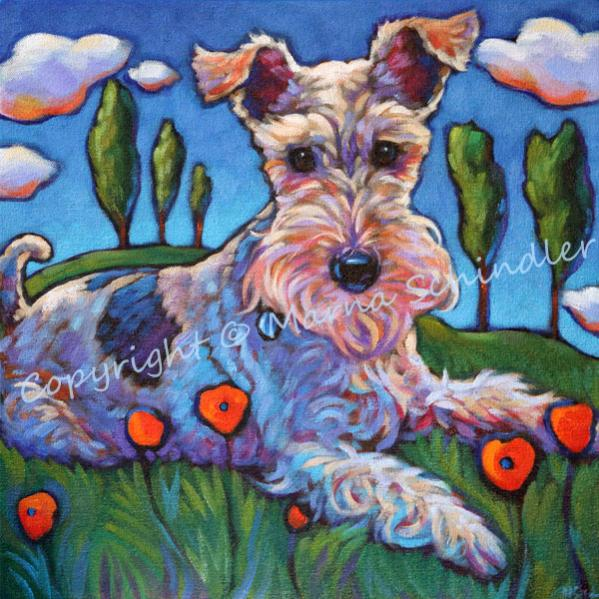 Pet portrait of Pella, Fox Terrier, by Marna Schindler Copyright all rights reserved