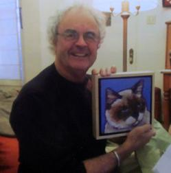 Dominc's memorial pet portrait being opened on Christmas