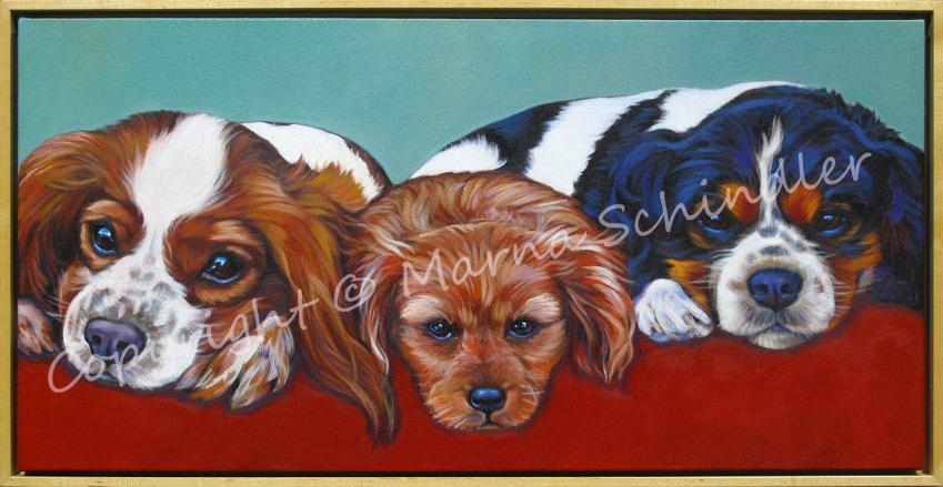 Pet portrait by Marna Schindler of Presley, Daisy and Kingston, King Charles Trio